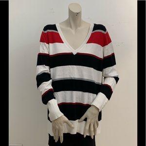 LANE BRYANT BLACK WHITE & RED STRIPED SWEATER